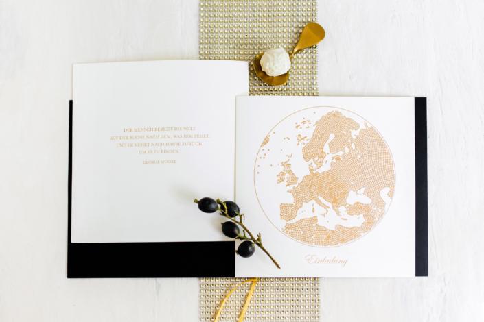 Einladungskarten-Serie Schwarz-Gold