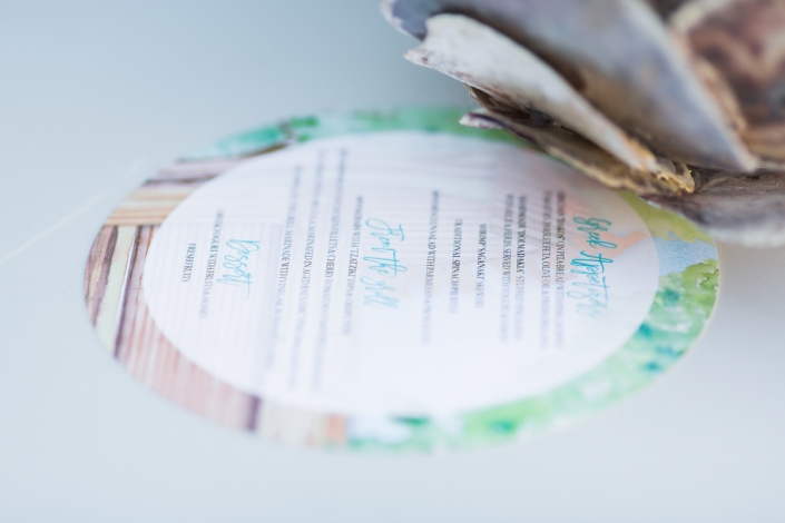 watercolor lasercut circle menu